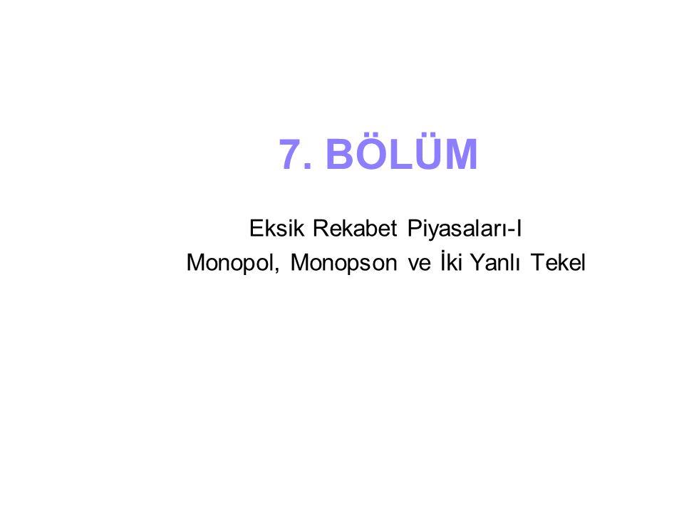 Eksik Rekabet Piyasaları-I Monopol, Monopson ve İki Yanlı Tekel