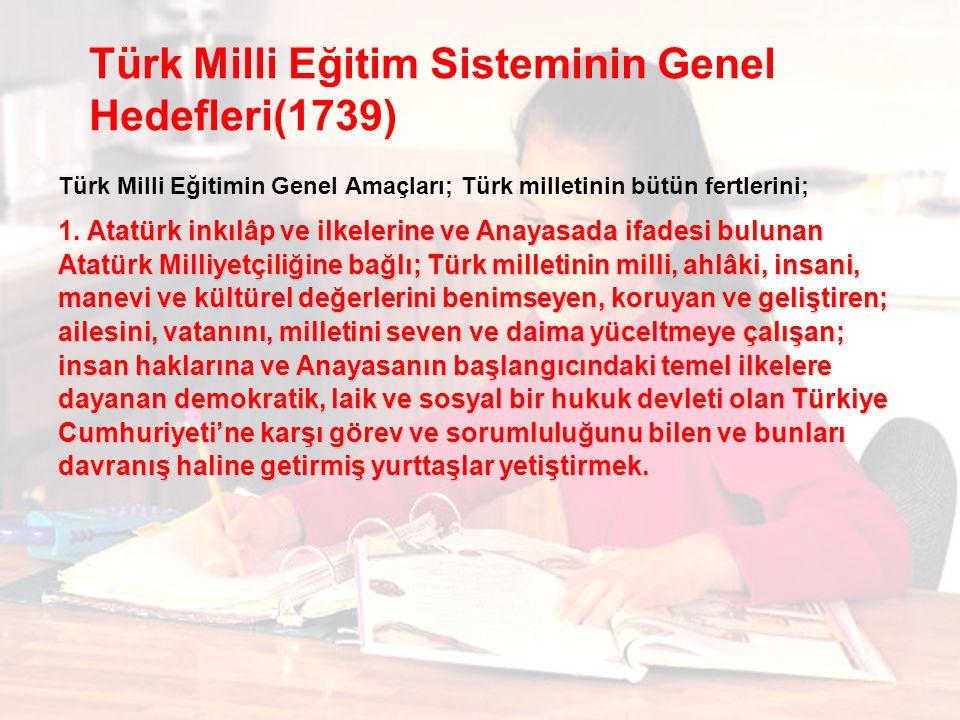 Türk Milli Eğitim Sisteminin Genel Hedefleri(1739)