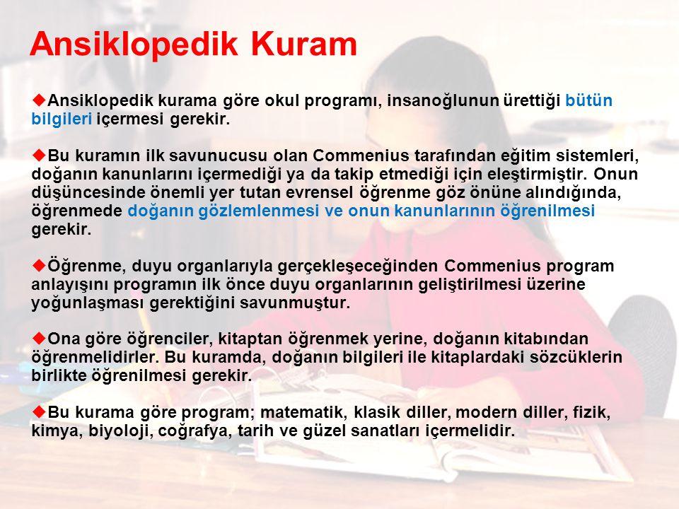 Ansiklopedik Kuram Ansiklopedik kurama göre okul programı, insanoğlunun ürettiği bütün bilgileri içermesi gerekir.