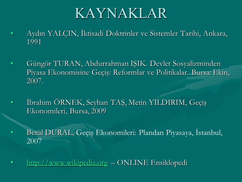 KAYNAKLAR Aydın YALÇIN, İktisadi Doktrinler ve Sistemler Tarihi, Ankara, 1991.