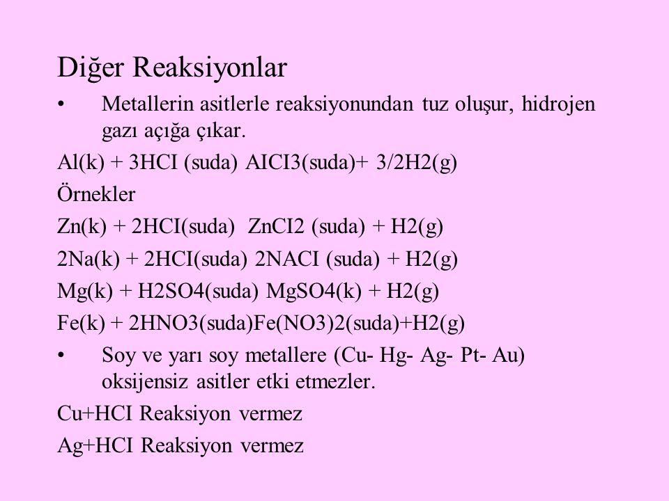 Diğer Reaksiyonlar Metallerin asitlerle reaksiyonundan tuz oluşur, hidrojen gazı açığa çıkar. Al(k) + 3HCI (suda) AICI3(suda)+ 3/2H2(g)