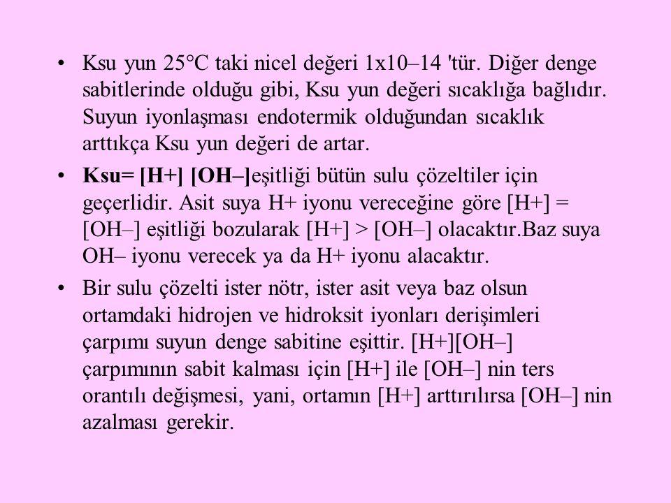 Ksu yun 25°C taki nicel değeri 1x10–14 tür