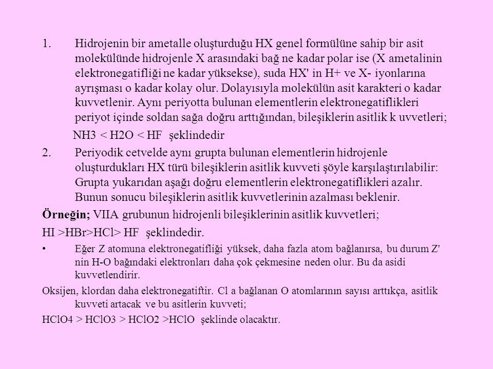 NH3 < H2O < HF şeklindedir