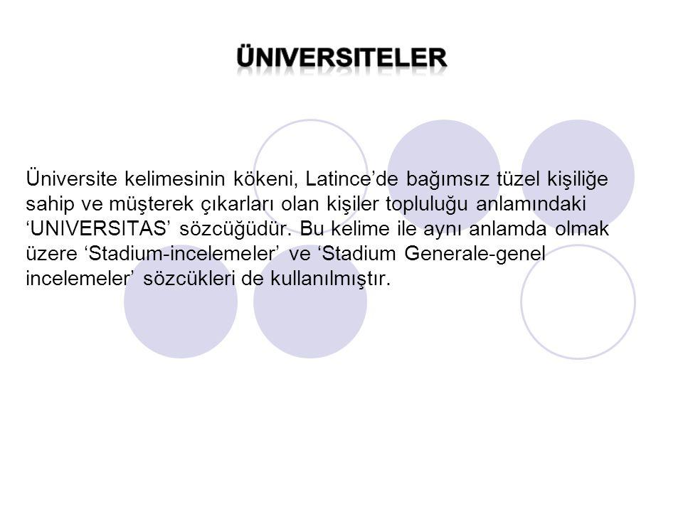 Üniversite kelimesinin kökeni, Latince'de bağımsız tüzel kişiliğe sahip ve müşterek çıkarları olan kişiler topluluğu anlamındaki 'UNIVERSITAS' sözcüğüdür. Bu kelime ile aynı anlamda olmak üzere 'Stadium-incelemeler' ve 'Stadium Generale-genel incelemeler' sözcükleri de kullanılmıştır.