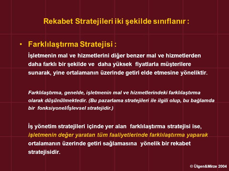 Rekabet Stratejileri iki şekilde sınıflanır :