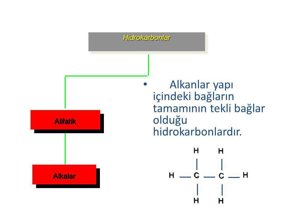 Hidrokarbonlar Alkanlar yapı içindeki bağların tamamının tekli bağlar olduğu hidrokarbonlardır. Alifatik.