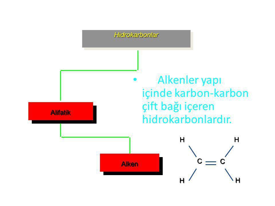 Alkenler yapı içinde karbon-karbon çift bağı içeren hidrokarbonlardır.