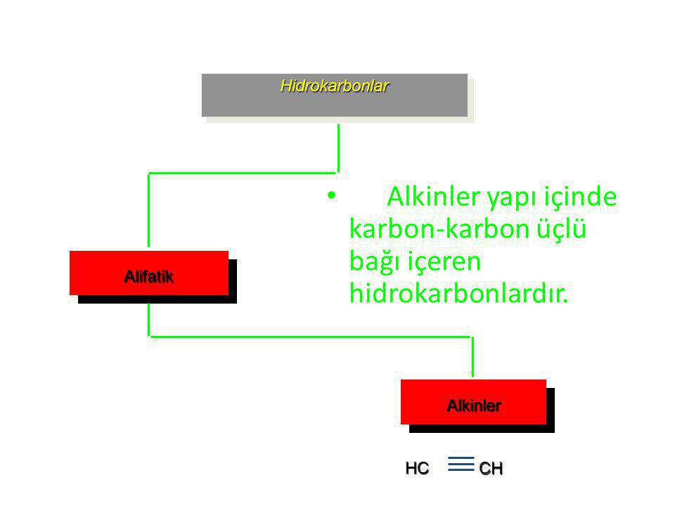 Alkinler yapı içinde karbon-karbon üçlü bağı içeren hidrokarbonlardır.