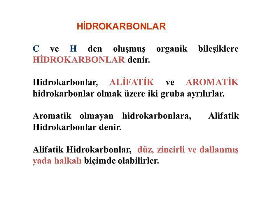 HİDROKARBONLAR C ve H den oluşmuş organik bileşiklere HİDROKARBONLAR denir.