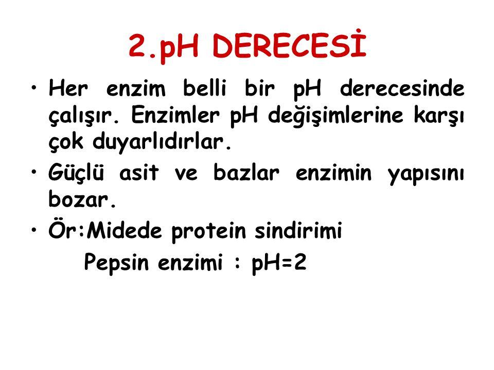 2.pH DERECESİ Her enzim belli bir pH derecesinde çalışır. Enzimler pH değişimlerine karşı çok duyarlıdırlar.