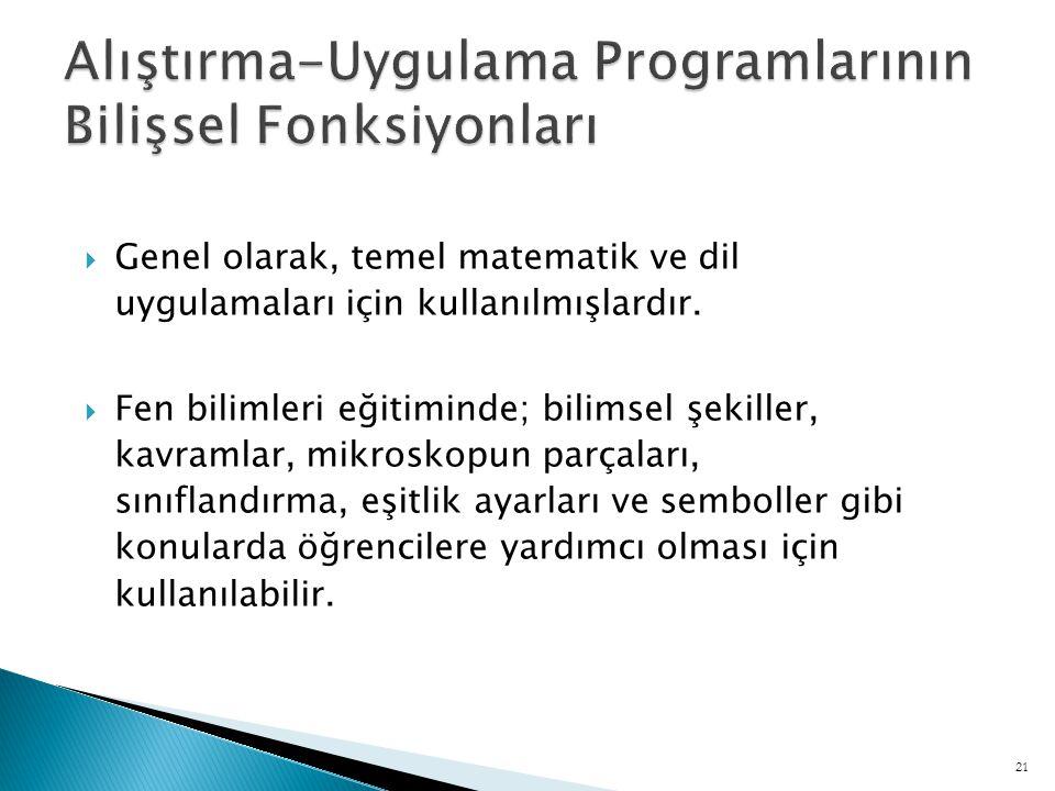 Alıştırma-Uygulama Programlarının Bilişsel Fonksiyonları