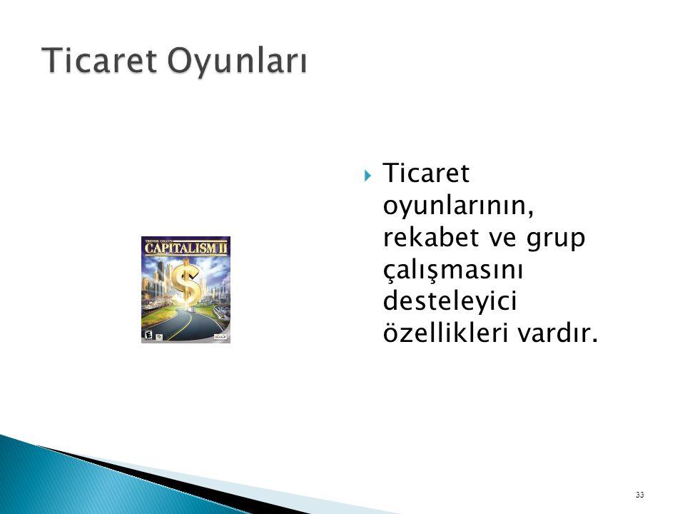 Ticaret Oyunları Ticaret oyunlarının, rekabet ve grup çalışmasını desteleyici özellikleri vardır.