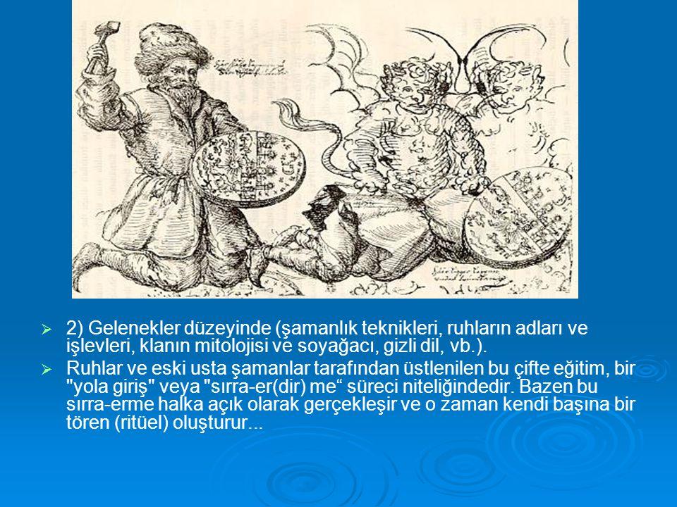 2) Gelenekler düzeyinde (şamanlık teknikleri, ruhların adları ve işlevleri, klanın mitolojisi ve soyağacı, gizli dil, vb.).