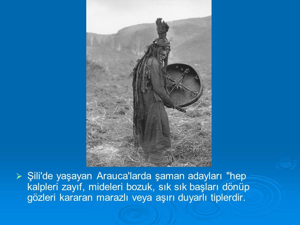 Şili de yaşayan Arauca larda şaman adayları hep kalpleri zayıf, mideleri bozuk, sık sık başları dönüp gözleri kararan marazlı veya aşırı duyarlı tiplerdir.
