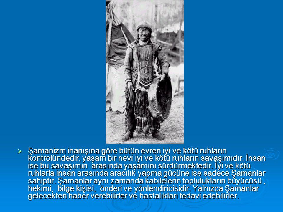 Şamanizm inanışına göre bütün evren iyi ve kötü ruhların kontrolündedir, yaşam bir nevi iyi ve kötü ruhların savaşımıdır.