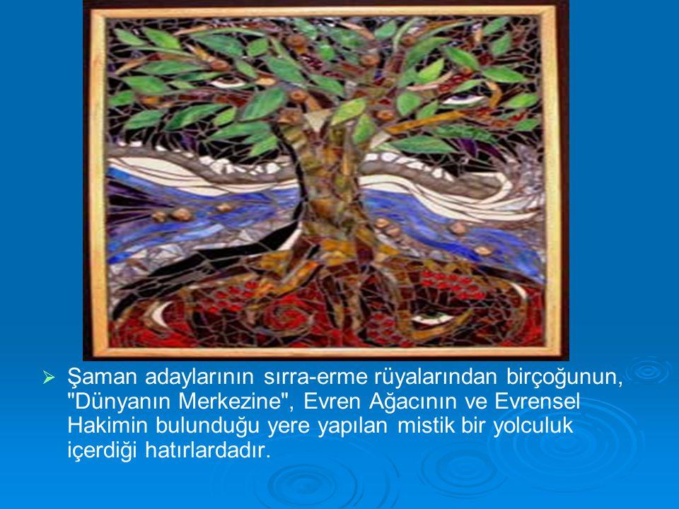 Şaman adaylarının sırra-erme rüyalarından birçoğunun, Dünyanın Merkezine , Evren Ağacının ve Evrensel Hakimin bulunduğu yere yapılan mistik bir yolculuk içerdiği hatırlardadır.