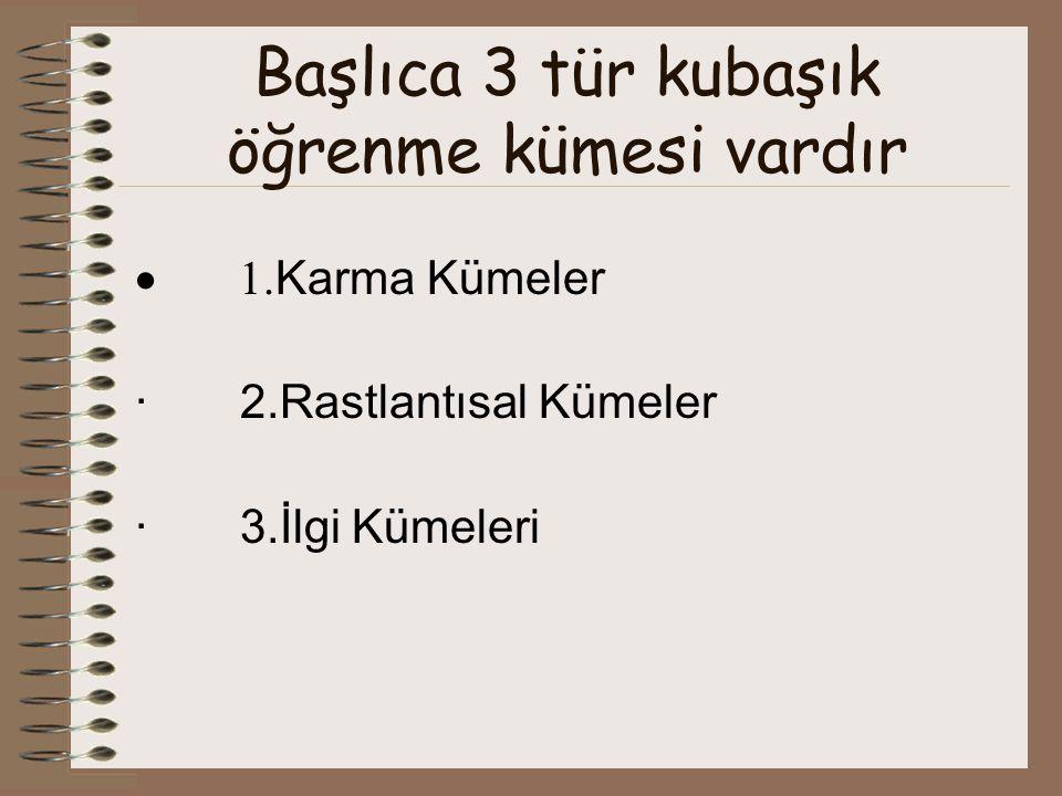 Başlıca 3 tür kubaşık öğrenme kümesi vardır