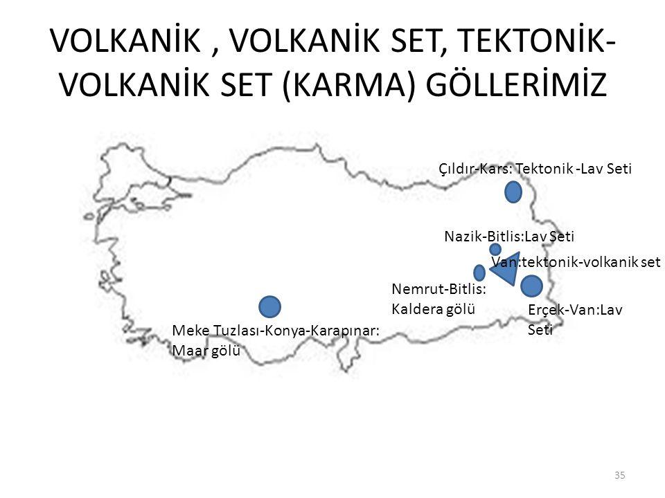 VOLKANİK , VOLKANİK SET, TEKTONİK-VOLKANİK SET (KARMA) GÖLLERİMİZ