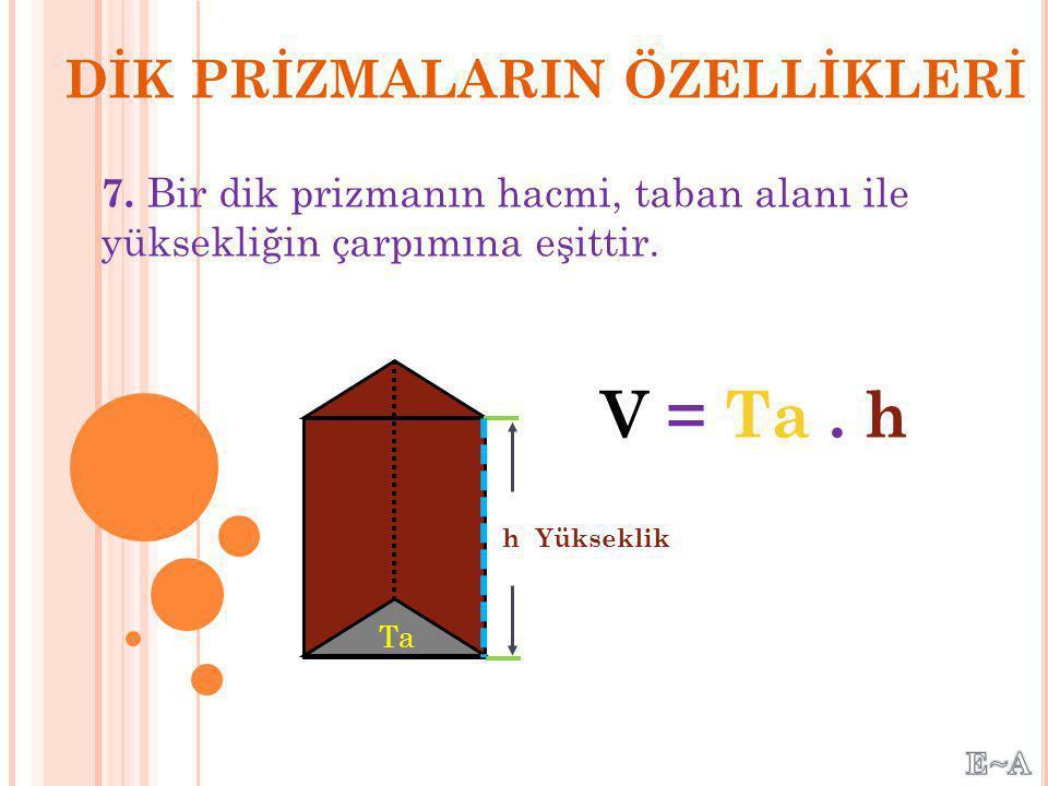 V = Ta . h DİK PRİZMALARIN ÖZELLİKLERİ
