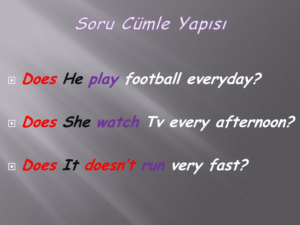Soru Cümle Yapısı Does He play football everyday