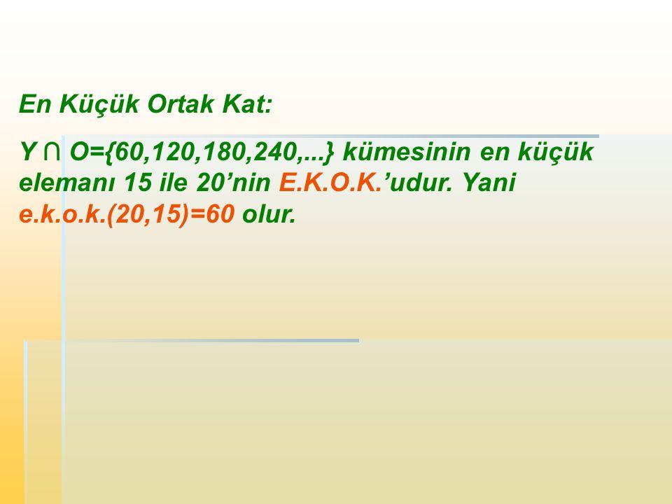 En Küçük Ortak Kat: Y ∩ O={60,120,180,240,...} kümesinin en küçük elemanı 15 ile 20'nin E.K.O.K.'udur.