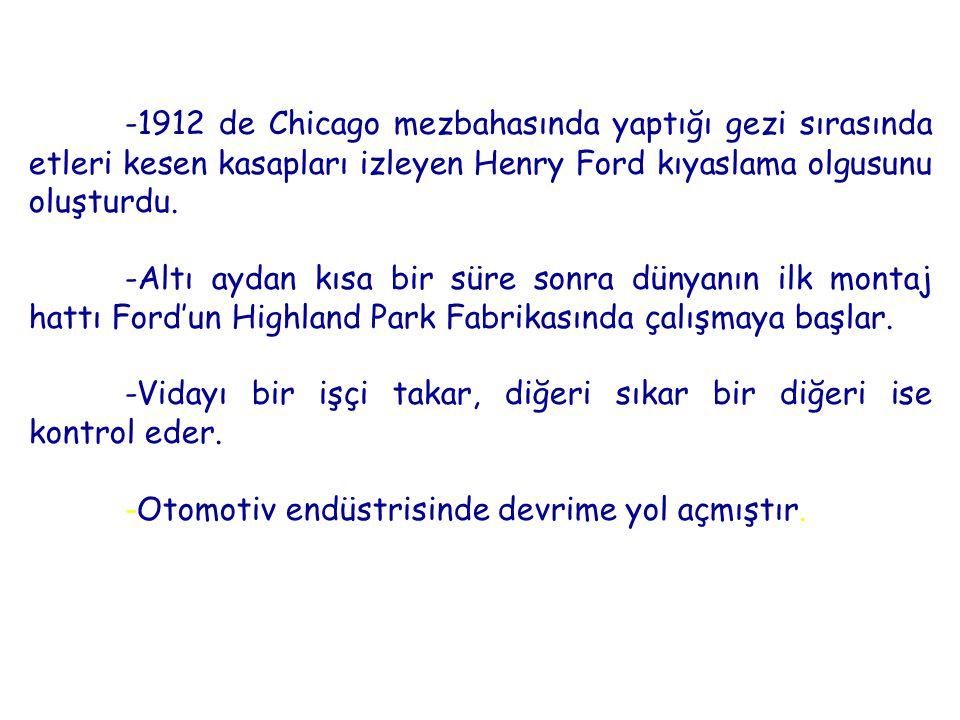 -1912 de Chicago mezbahasında yaptığı gezi sırasında etleri kesen kasapları izleyen Henry Ford kıyaslama olgusunu oluşturdu.