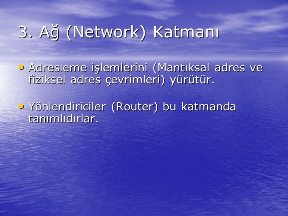 3. Ağ (Network) Katmanı Adresleme işlemlerini (Mantıksal adres ve fiziksel adres çevrimleri) yürütür.