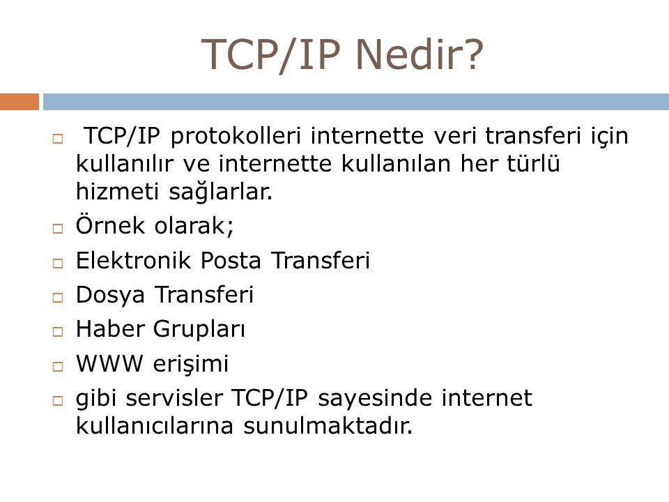TCP/IP Nedir TCP/IP protokolleri internette veri transferi için kullanılır ve internette kullanılan her türlü hizmeti sağlarlar.