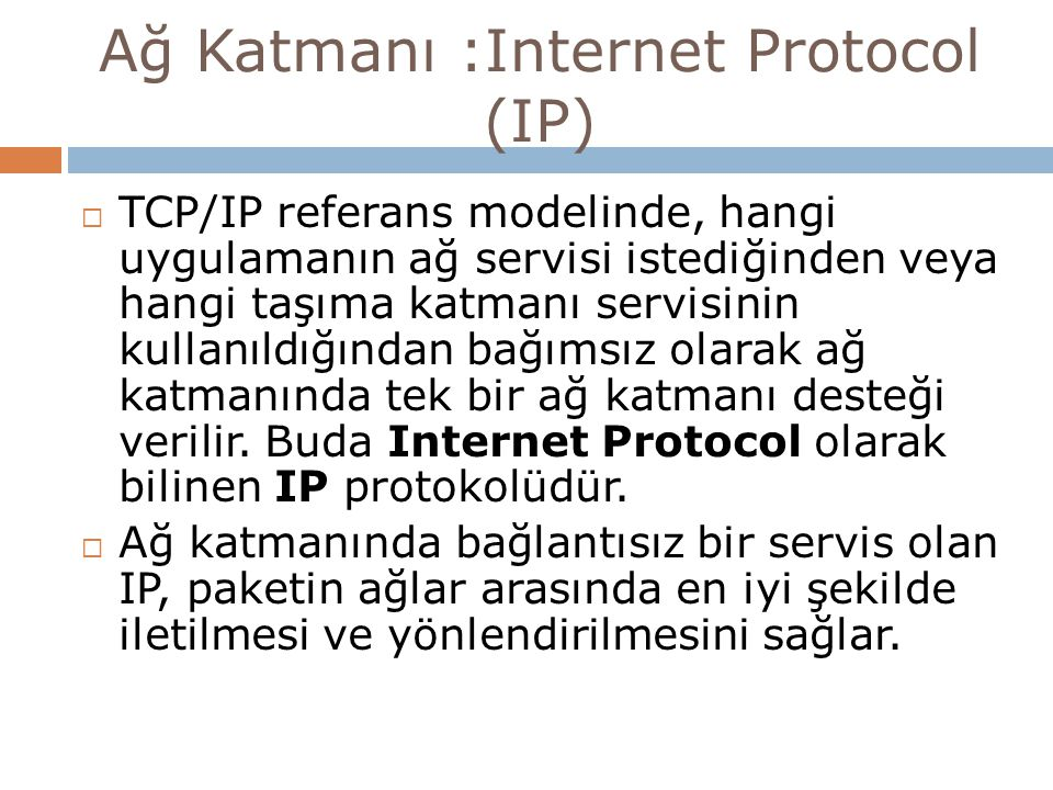 Ağ Katmanı :Internet Protocol (IP)