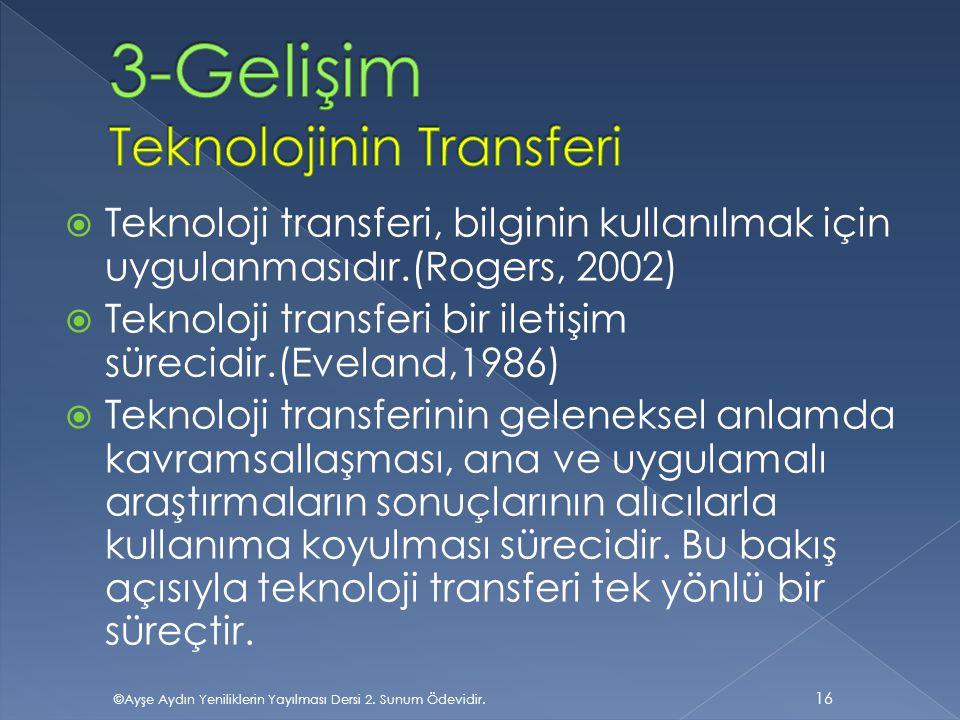 3-Gelişim Teknolojinin Transferi