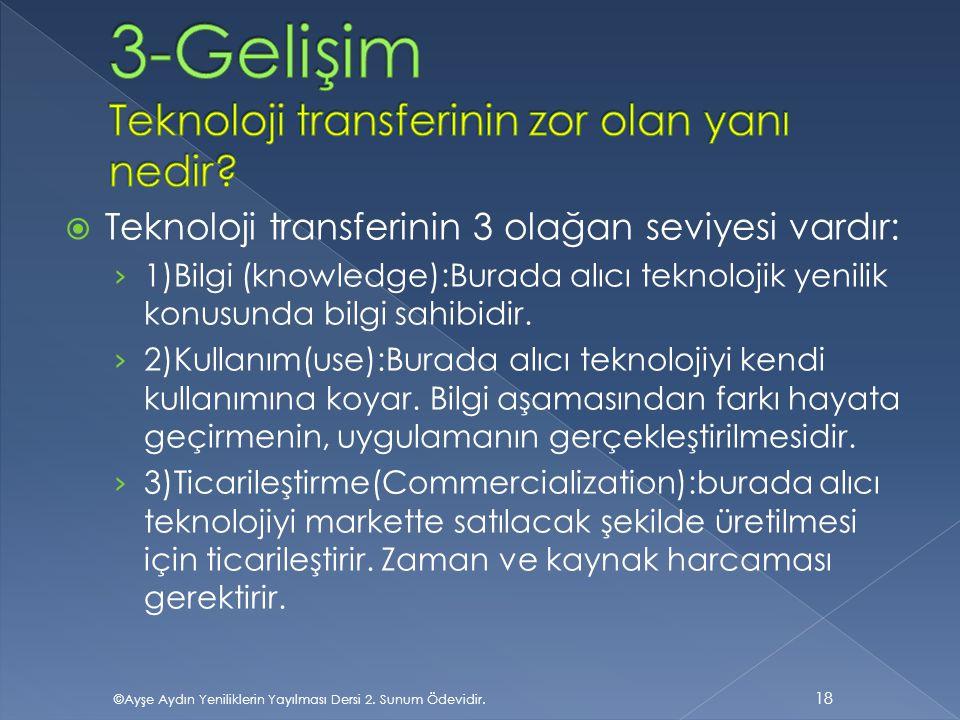 3-Gelişim Teknoloji transferinin zor olan yanı nedir