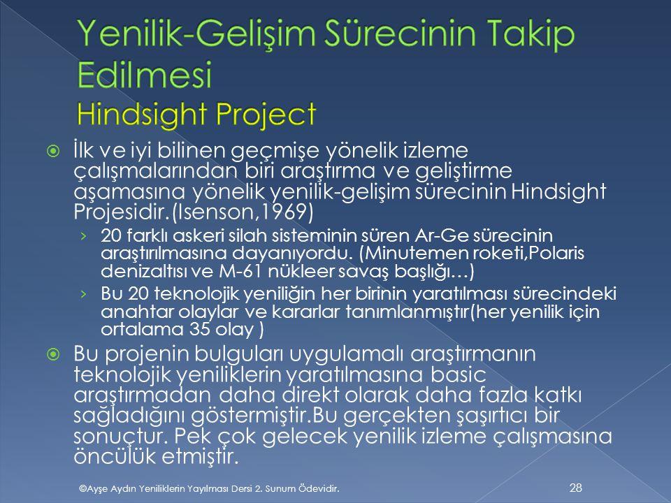 Yenilik-Gelişim Sürecinin Takip Edilmesi Hindsight Project
