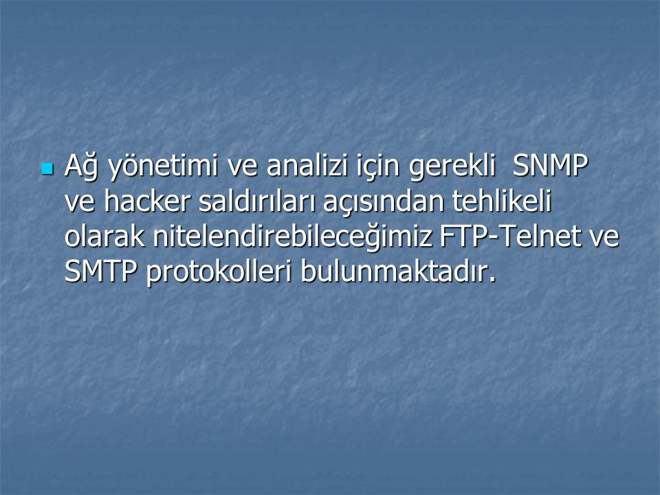 Ağ yönetimi ve analizi için gerekli SNMP ve hacker saldırıları açısından tehlikeli olarak nitelendirebileceğimiz FTP-Telnet ve SMTP protokolleri bulunmaktadır.