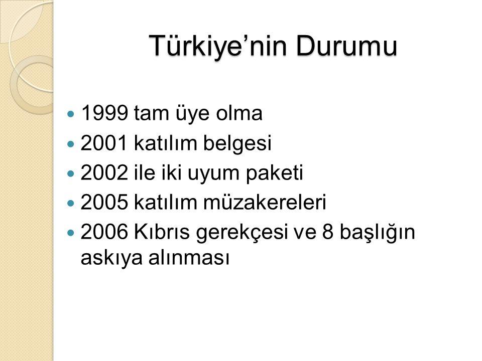 Türkiye'nin Durumu 1999 tam üye olma 2001 katılım belgesi