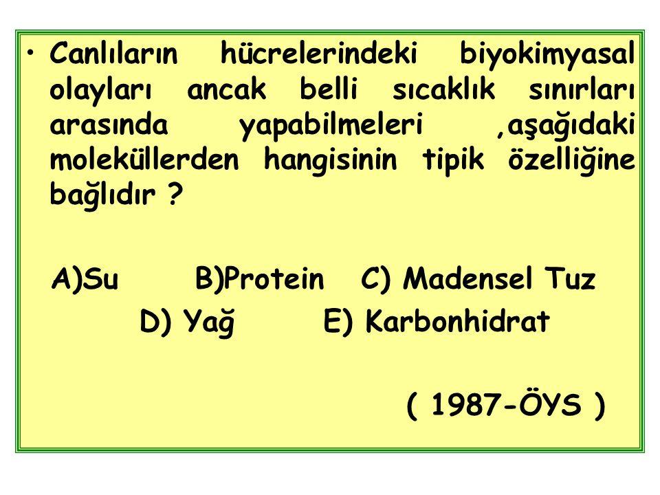 Canlıların hücrelerindeki biyokimyasal olayları ancak belli sıcaklık sınırları arasında yapabilmeleri ,aşağıdaki moleküllerden hangisinin tipik özelliğine bağlıdır