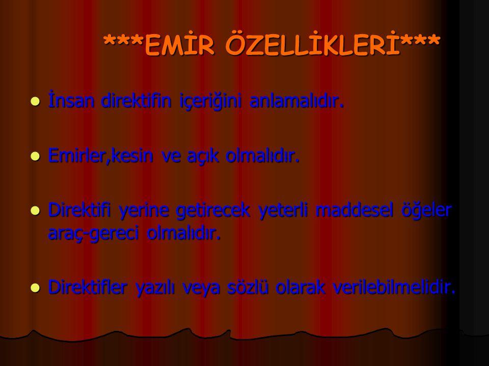 ***EMİR ÖZELLİKLERİ***