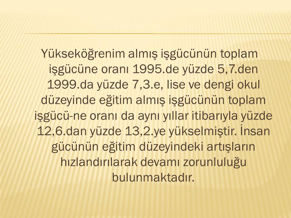 Yükseköğrenim almış işgücünün toplam işgücüne oranı 1995. de yüzde 5,7