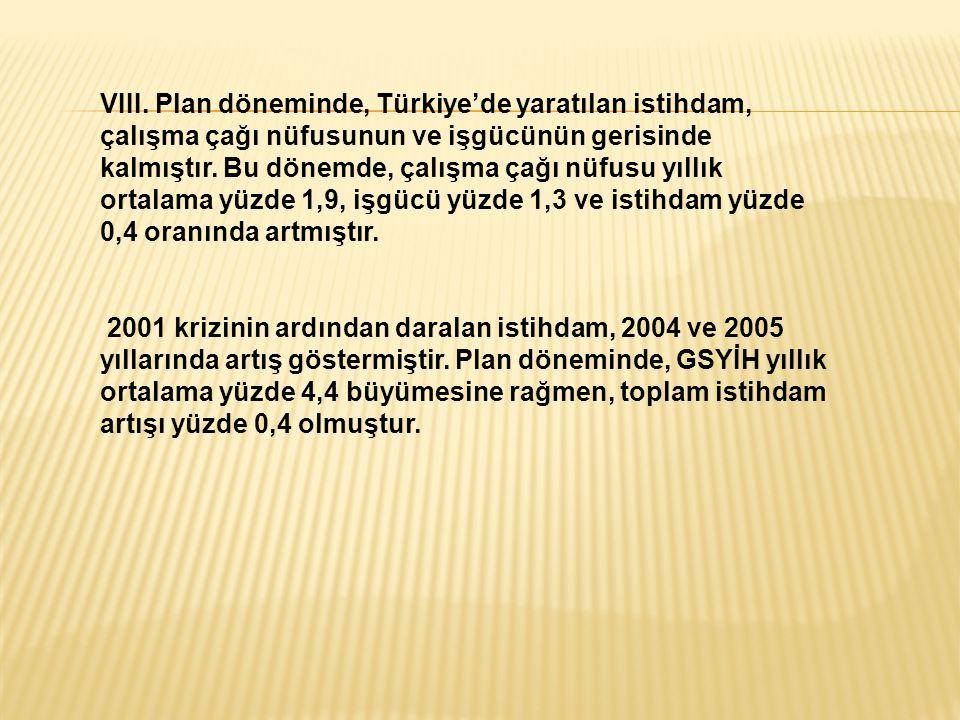 VIII. Plan döneminde, Türkiye'de yaratılan istihdam, çalışma çağı nüfusunun ve işgücünün gerisinde kalmıştır. Bu dönemde, çalışma çağı nüfusu yıllık ortalama yüzde 1,9, işgücü yüzde 1,3 ve istihdam yüzde 0,4 oranında artmıştır.