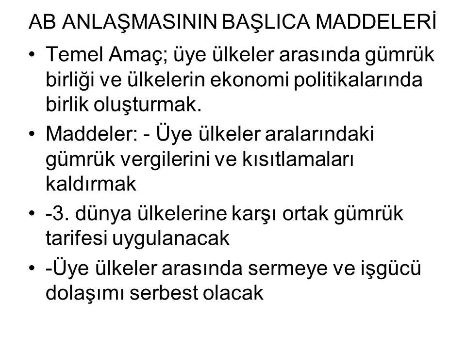 AB ANLAŞMASININ BAŞLICA MADDELERİ