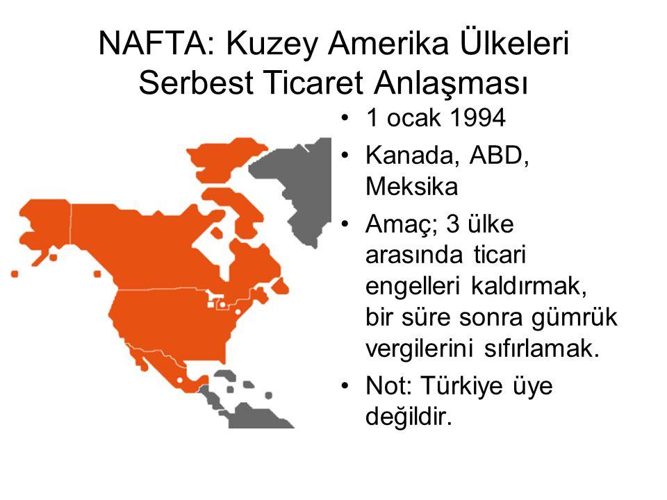 NAFTA: Kuzey Amerika Ülkeleri Serbest Ticaret Anlaşması