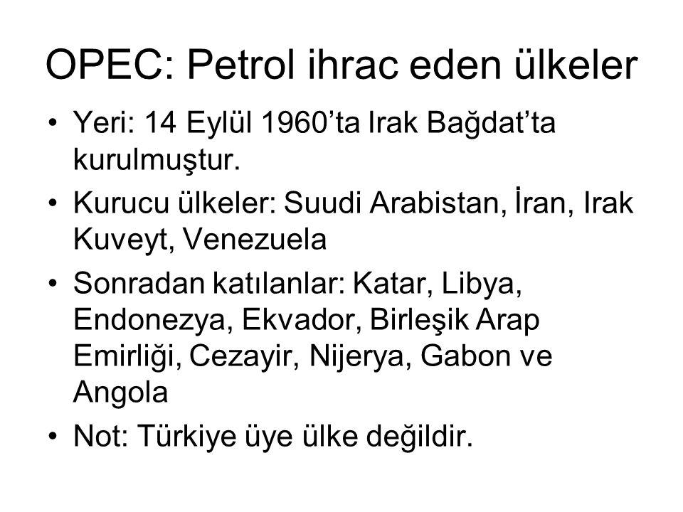 OPEC: Petrol ihrac eden ülkeler
