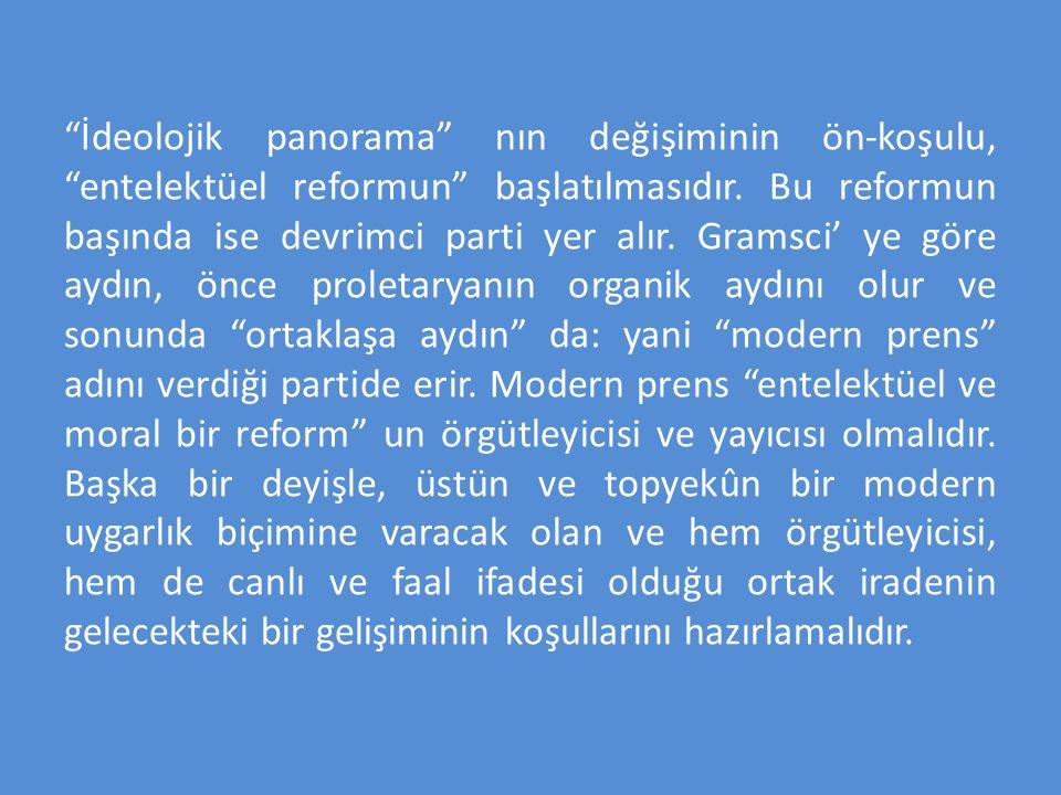 İdeolojik panorama nın değişiminin ön-koşulu, entelektüel reformun başlatılmasıdır.