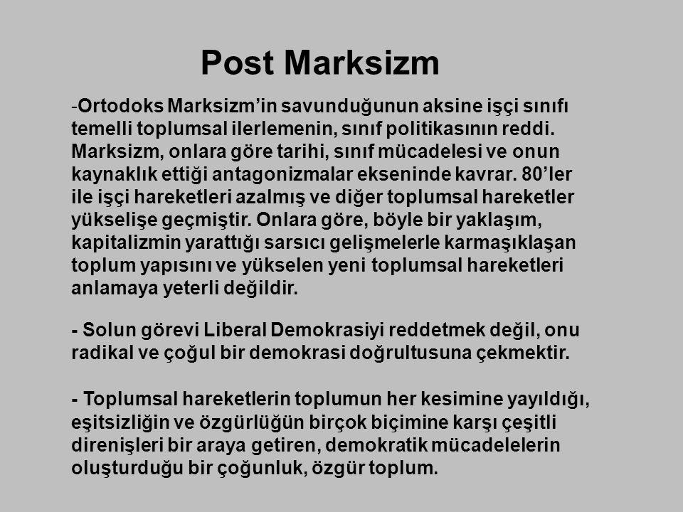 Post Marksizm Ortodoks Marksizm'in savunduğunun aksine işçi sınıfı temelli toplumsal ilerlemenin, sınıf politikasının reddi.