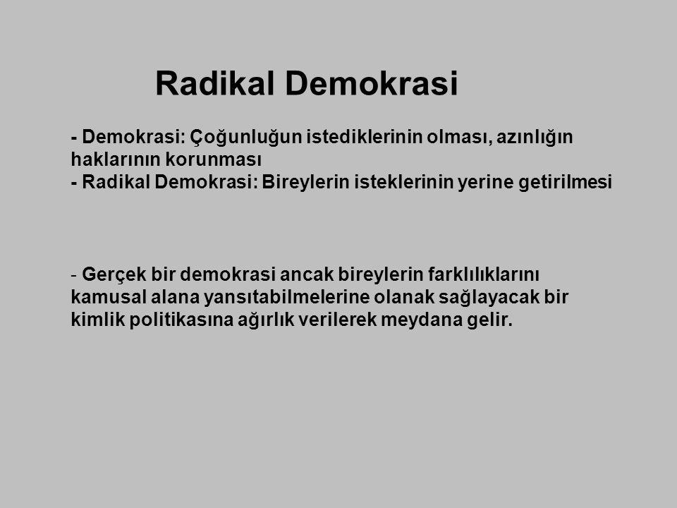 Radikal Demokrasi - Demokrasi: Çoğunluğun istediklerinin olması, azınlığın haklarının korunması.