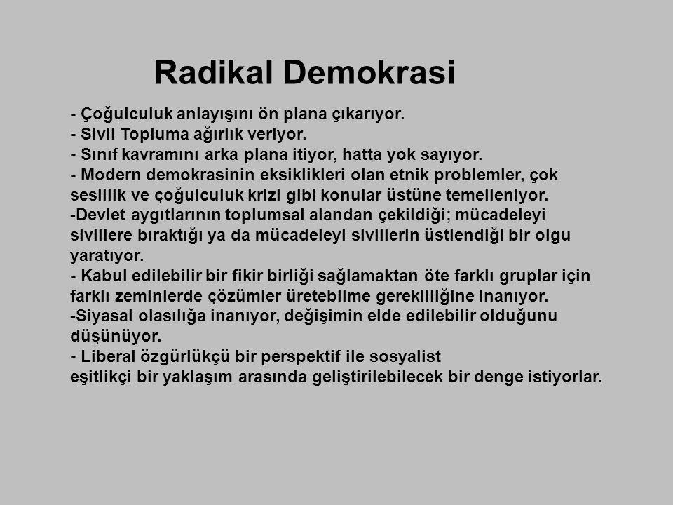 Radikal Demokrasi - Çoğulculuk anlayışını ön plana çıkarıyor.