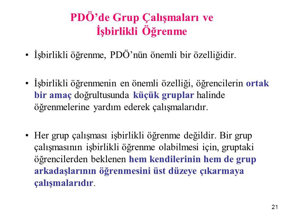PDÖ'de Grup Çalışmaları ve İşbirlikli Öğrenme