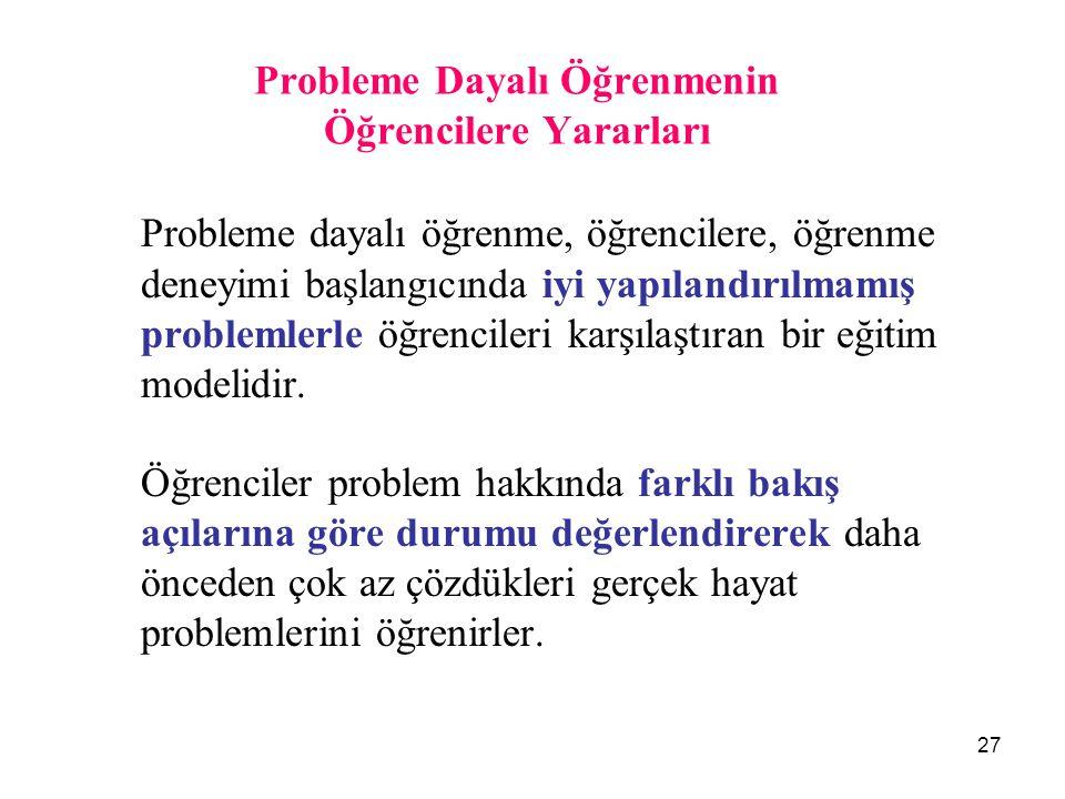 Probleme Dayalı Öğrenmenin Öğrencilere Yararları