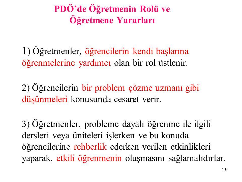 PDÖ'de Öğretmenin Rolü ve Öğretmene Yararları