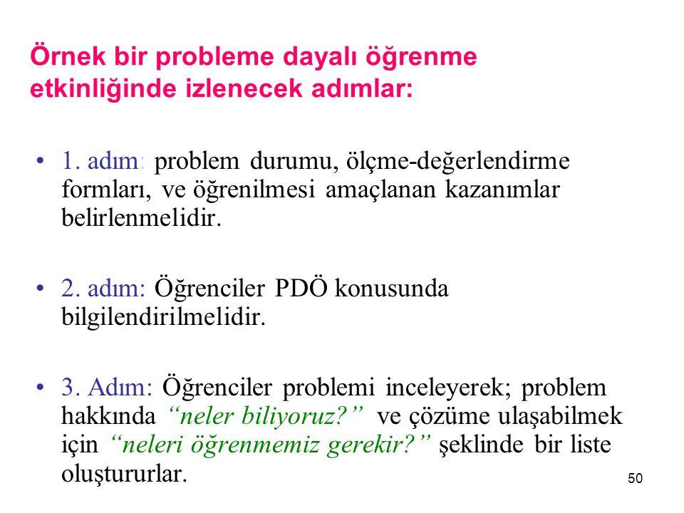 Örnek bir probleme dayalı öğrenme etkinliğinde izlenecek adımlar: