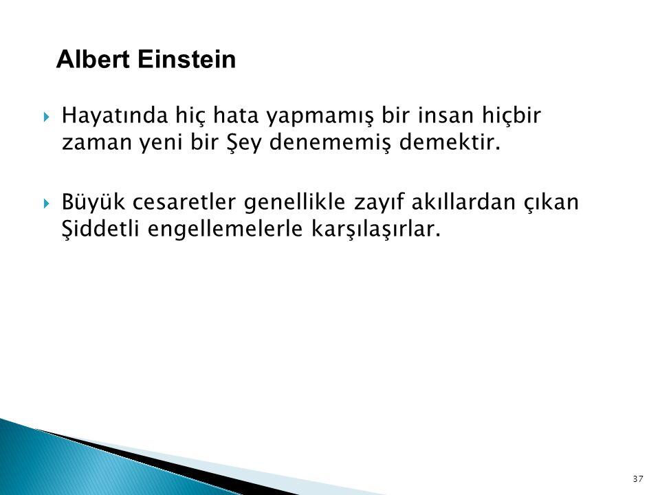 Albert Einstein Hayatında hiç hata yapmamış bir insan hiçbir zaman yeni bir Şey denememiş demektir.